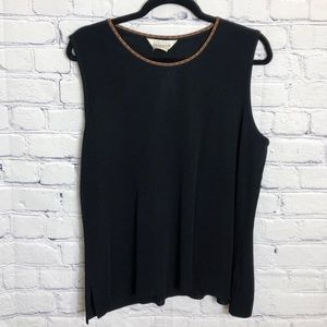 Exclusively Misook Black Brown Knit Sleeveless Top